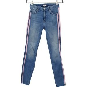 Mother The Looker Ankle Fray Jeans Keeping Love Alive Racer Striped Blue Red 24
